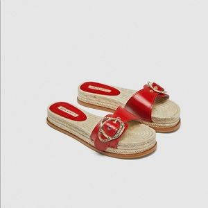 Zara red leather flat sandals with buckle